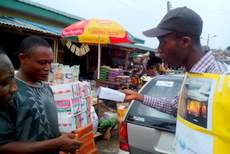 Street awareness campaign at a local market in Abeokuta, Nigeria during the World Environment Day
