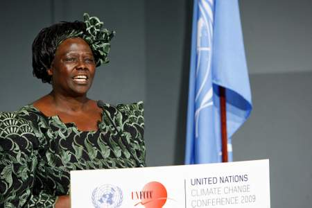 At a special ceremony in Copenhagen, where negotiations are intensifying for an effective agreement at the UN Climate Change Conference, Secretary-General Ban Ki-moon inducts Kenyan Nobel Peace Prize laureate and green advocate Wangari Maathai (shown speaking at ceremony) as a UN Messenger of Peace with a special focus on the environment and climate change. Professor Maathai, who won the Nobel Peace Prize in 2004, founded the grassroots group known as the Green Belt Movement, which has planted more than 40 million trees on community lands across Africa and worked to improve environmental conservation and reduce poverty.