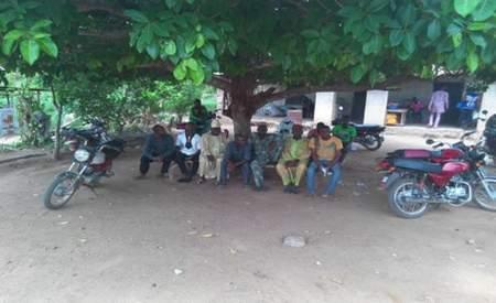 People relaxing under a teak tree from harsh hot sun in Odeda, Ogun State, Nigeria