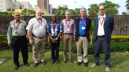 IUFRO-SPDC/WRI training course resource persons from left to right: Promode Kant (India) ), John Stanturf (US Forest Service), Ernest Foli (Forestry Research Institute of Ghana), Michael Kleine (IUFRO-SPDC), Lars Laestadius (World Resources Institute), Bastiaan Louman (CATIE)